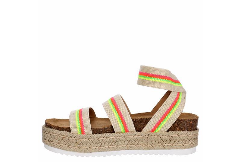 STEVE MADDEN Womens Kimmie Platform Espadrille Sandal - BEIGE