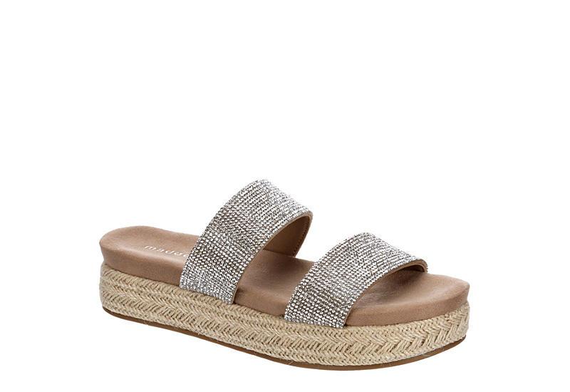 MADDEN GIRL Womens Elleen Espadrille Footbed Slide Sandal - SILVER