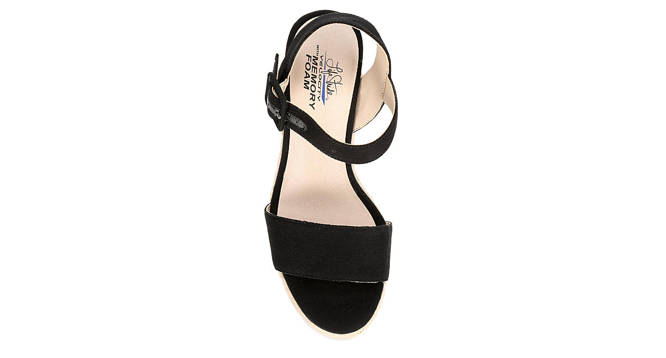 LIFESTRIDE Womens Tango Wedge Sandal - BLACK