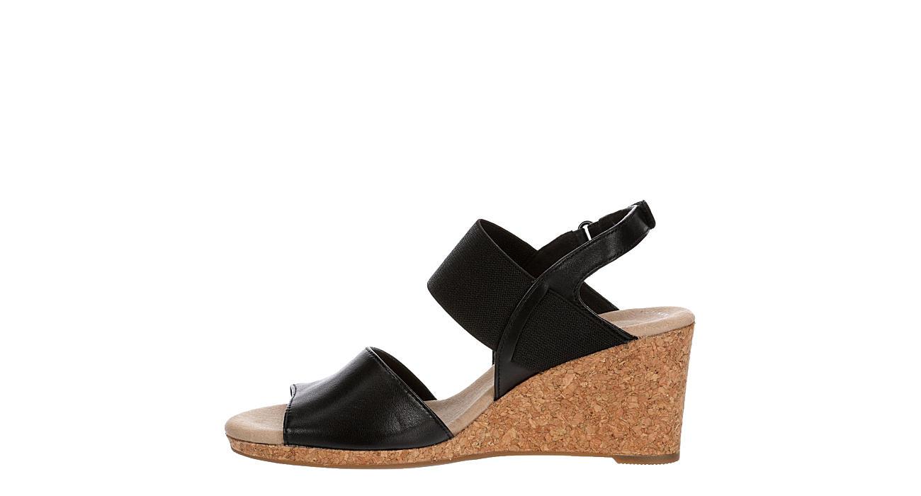 CLARKS Womens Lafley Lily Wedge Sandal - BLACK