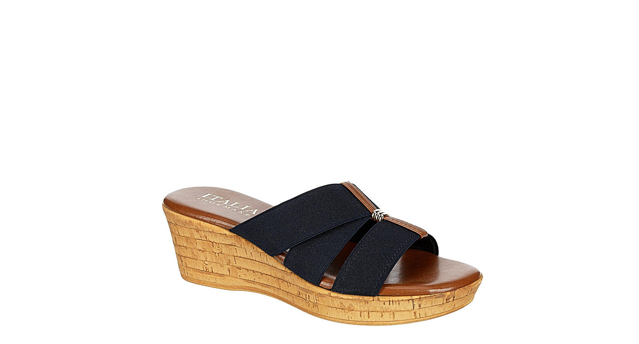 ITALIAN SHOEMAKERS Womens Tayden Wedge Slide Sandal - NAVY