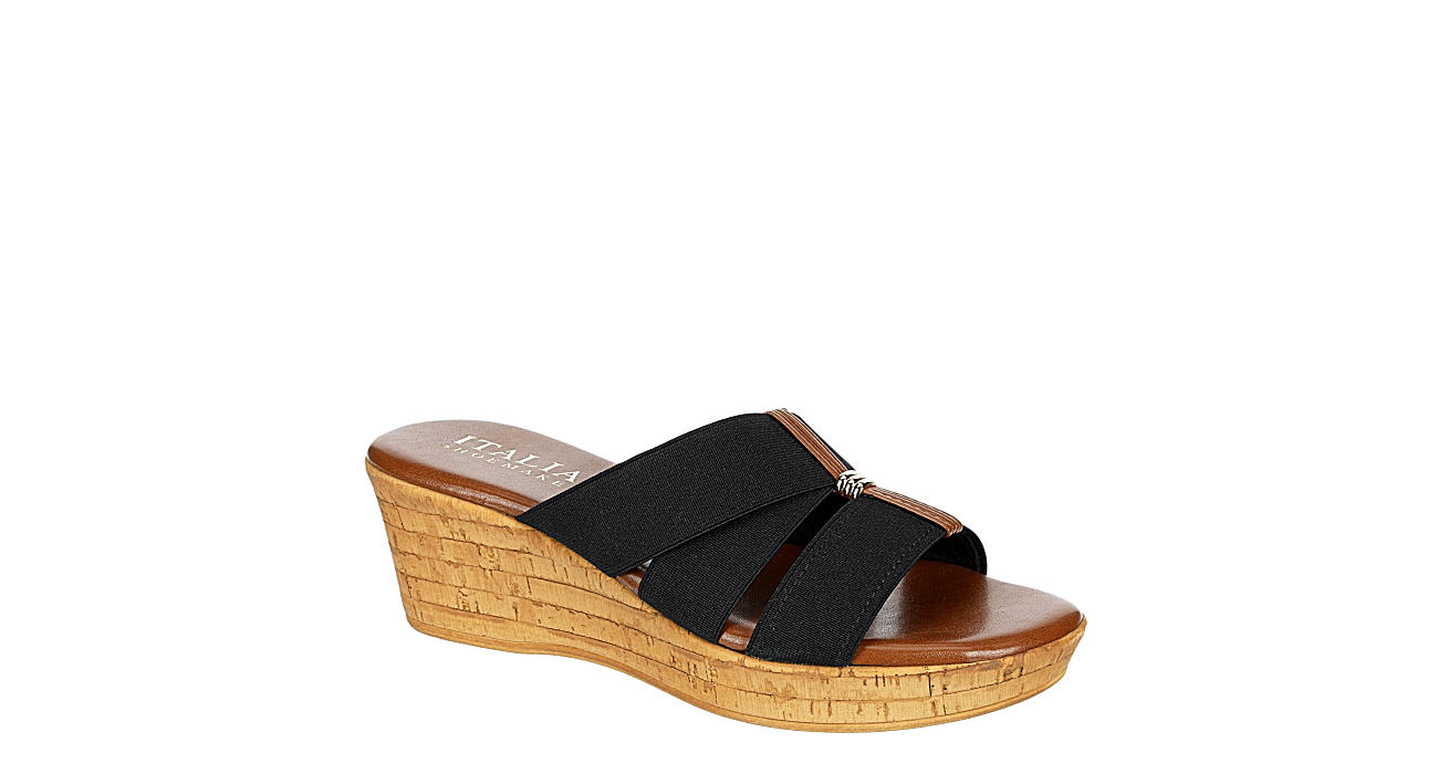 ITALIAN SHOEMAKERS Womens Tayden Wedge Slide Sandal - BLACK