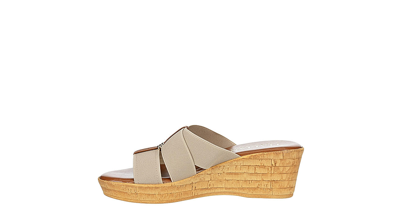 ITALIAN SHOEMAKERS Womens Tayden Wedge Slide Sandal - TAUPE