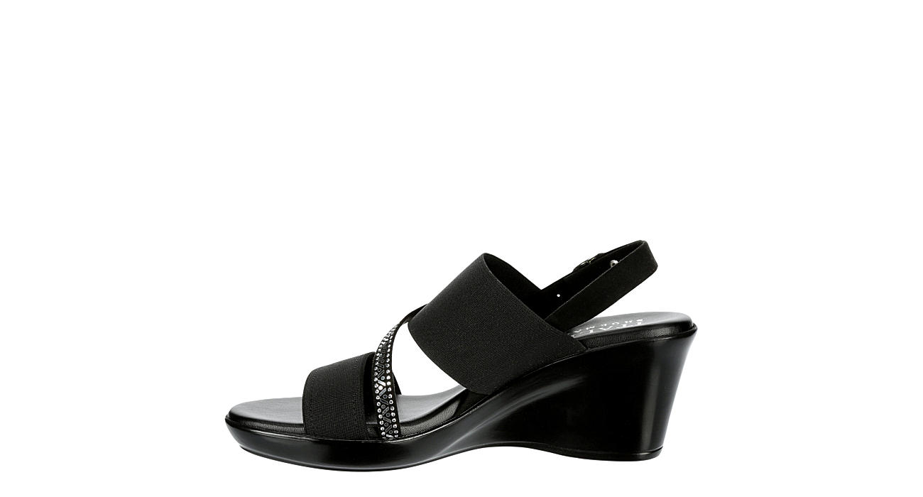 ITALIAN SHOEMAKERS Womens Charlie Wedge Sandal - BLACK
