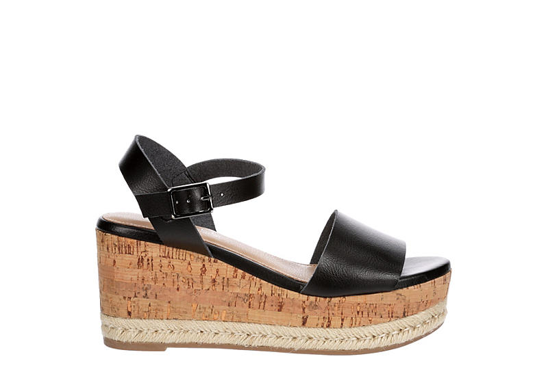 MICHAEL BY MICHAEL SHANNON Womens Kaitlin Wedge Sandal - BLACK