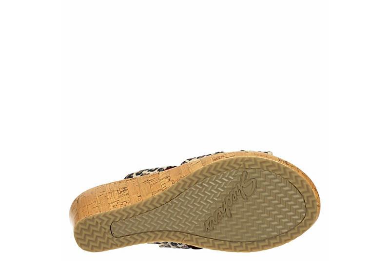 SKECHERS Womens Beverlee Purrfect Wedge Slide Sandal - LEOPARD