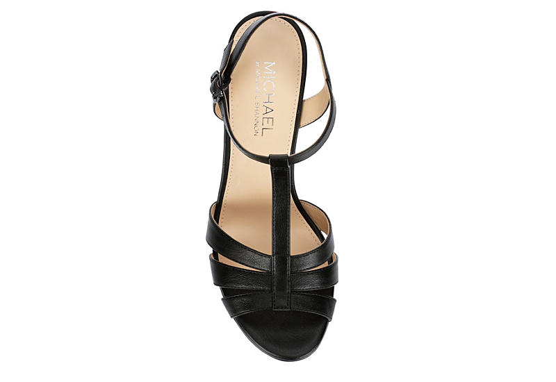 MICHAEL BY MICHAEL SHANNON Womens Fiesta Wedge Sandal - BLACK