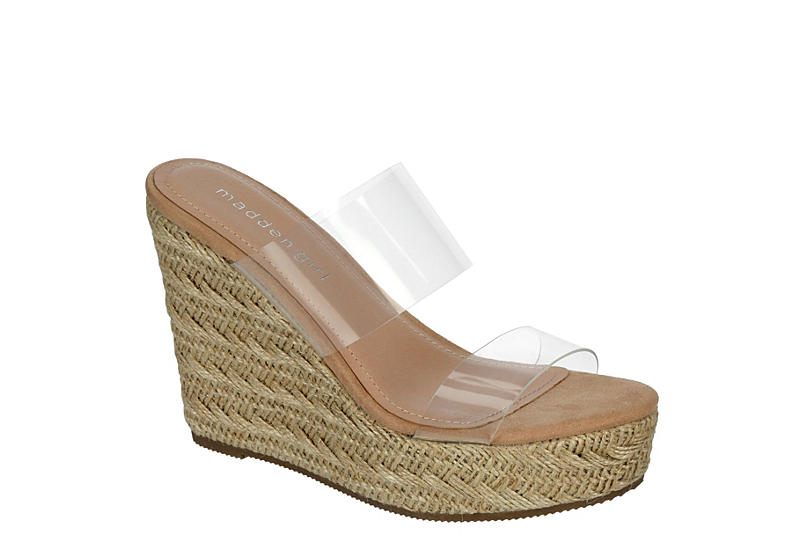 MADDEN GIRL Womens Valiee Espadrille Wedge Sandal - CLEAR