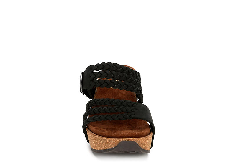WHITE MOUNTAIN Womens Chantilly Footbed Wedge Sandal - BLACK