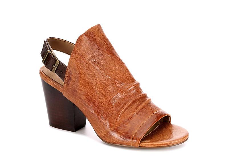 Lasara Ruched Leather Slingback Block Heel Sandals