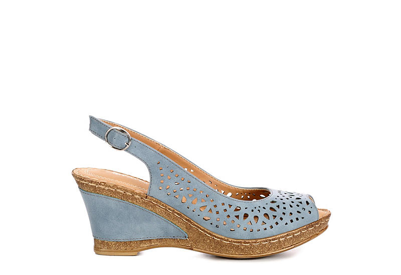 PATRIZIA Womens Shaninoqua Wedge Sandal - BLUE
