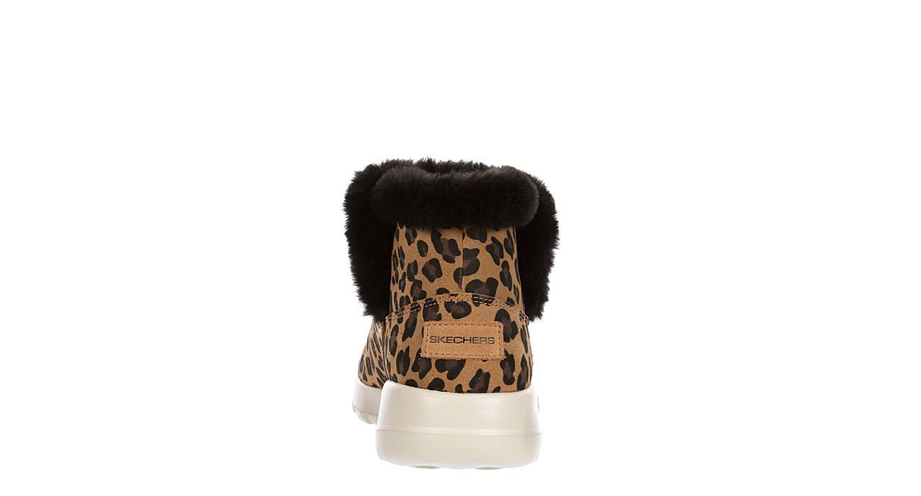 SKECHERS Womens Snow Kitty Fur Bootie - LEOPARD