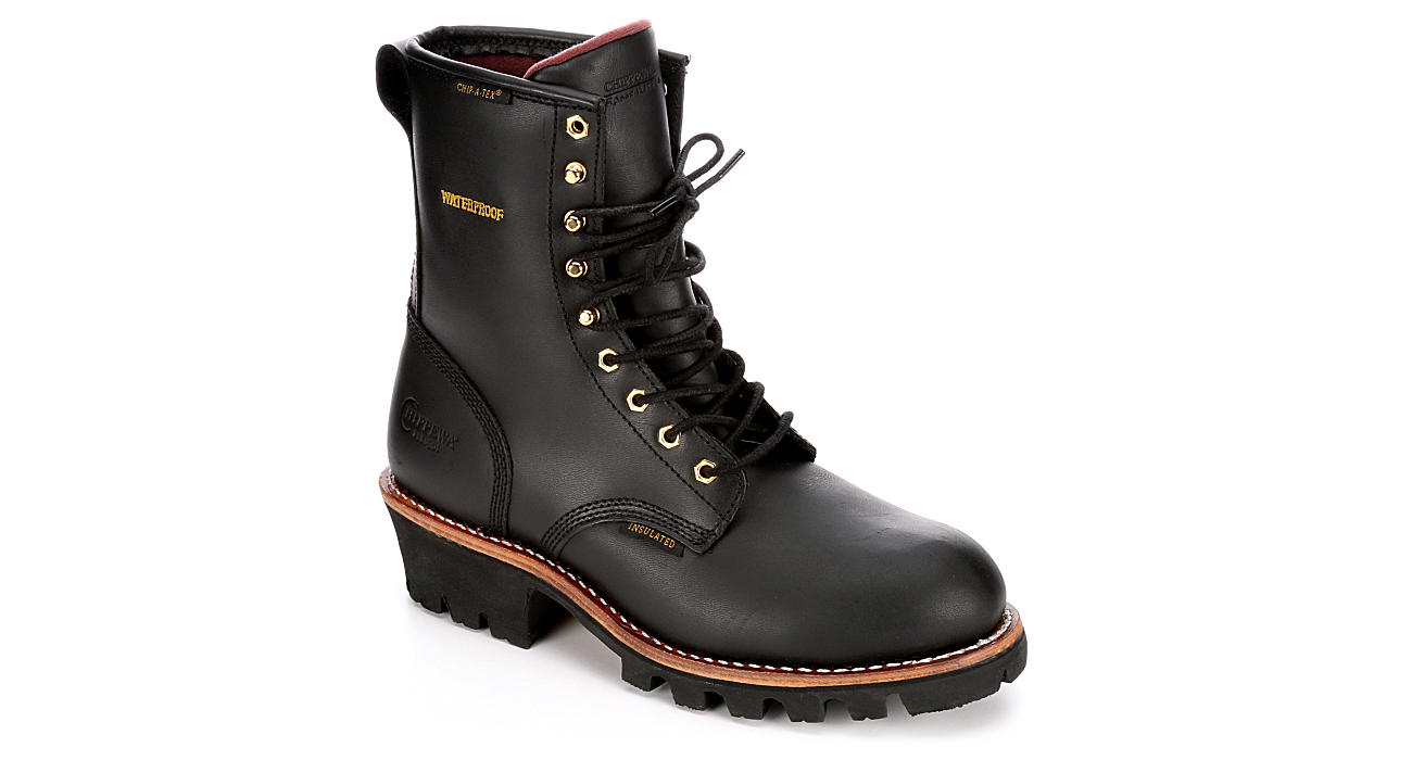 CHIPPEWA Mens Paladin Black Waterproof Steel Toe Work Boot - BLACK