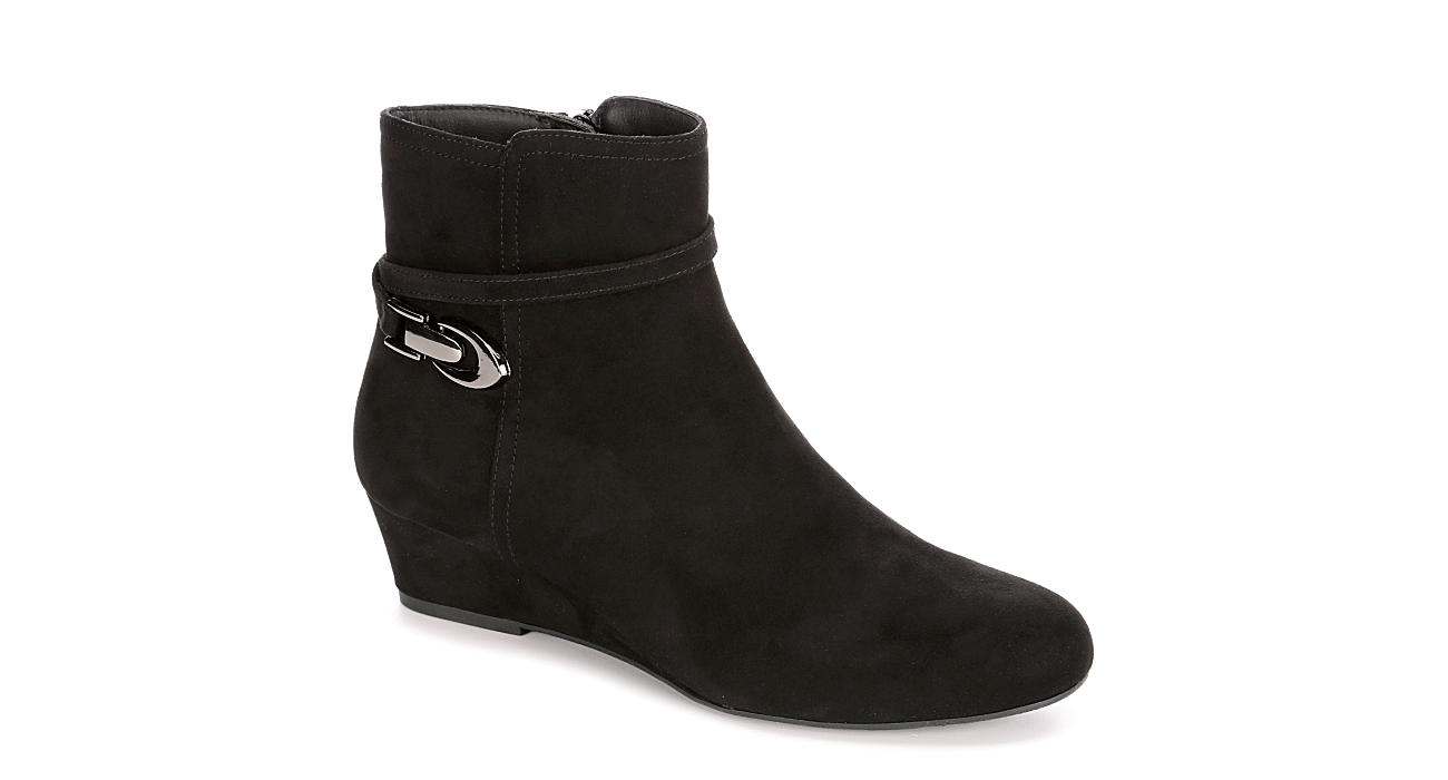 LAUREN BLAKWELL Womens Marcia Wedge Bootie - BLACK