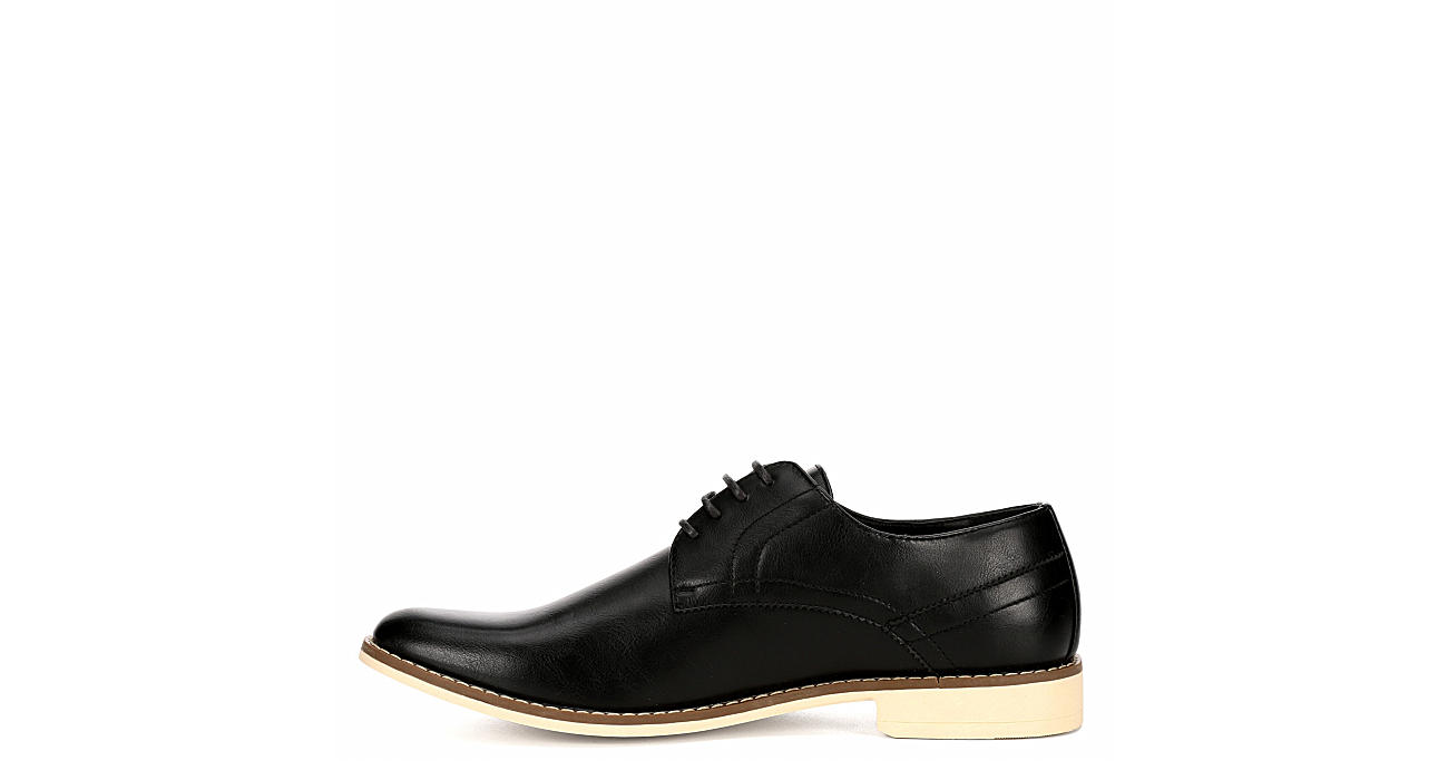 PERRY ELLIS Mens Martin Leather Dress Casual Oxford - BLACK