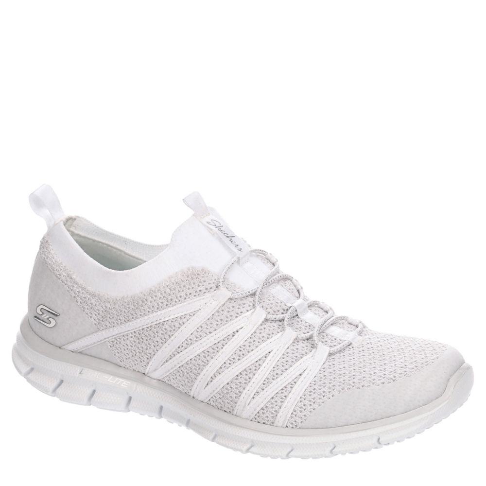 skechers slip on white shoes
