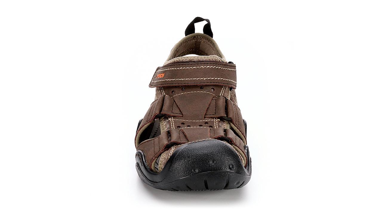CROCS Mens Swiftwarer Leather Fisherman Sandal - ESPRESSO