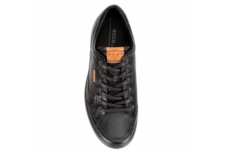 ECCO Mens Soft 7 Long Lace Leather Sneaker - BLACK
