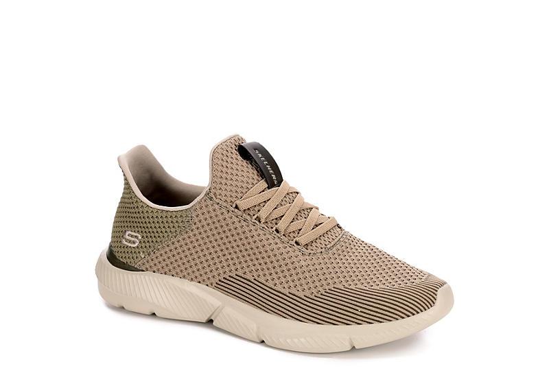TAUPE SKECHERS Mens Ingram taison Relaxed Fit Memory Foam Sneaker