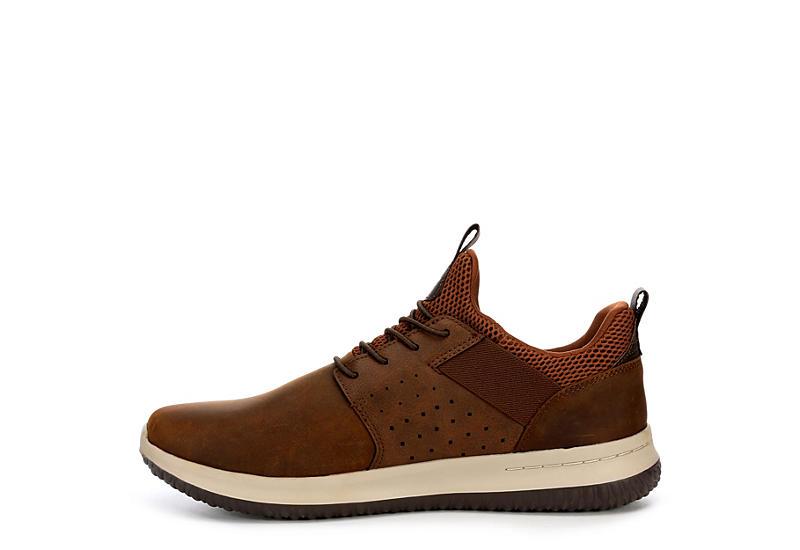 Skechers Mens Delson axton Air Cooled Memory Foam Sneaker Brown