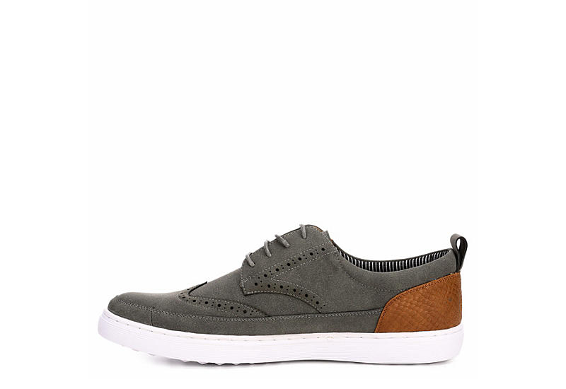 STEVE MADDEN Mens Inset Wing Tip Lace Oxford - GREY