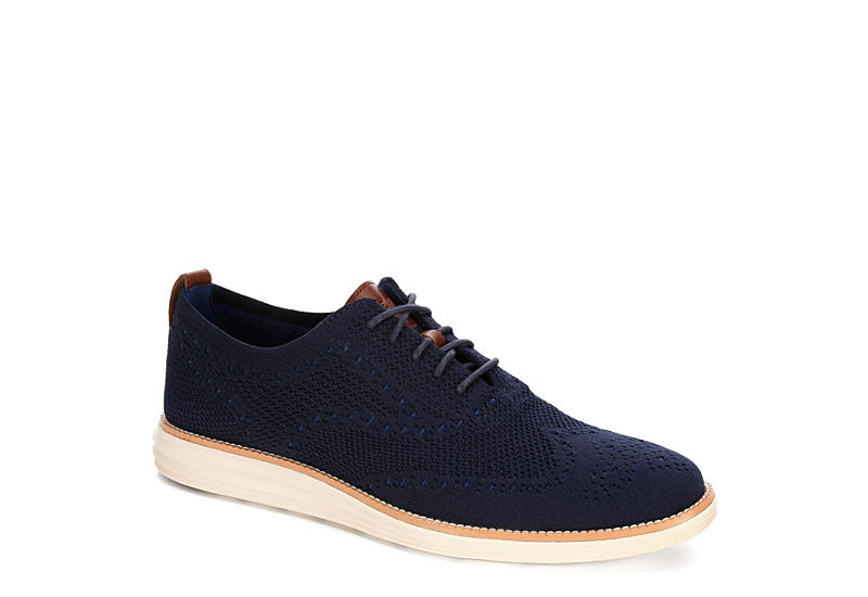 7f40cd634e0 Navy Cole Haan Mens Original Grand Wingtip Knit Oxford | Casual ...