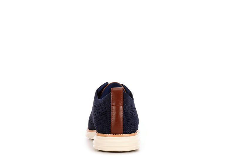 COLE HAAN Mens Original Grand Wingtip Knit Oxford - NAVY