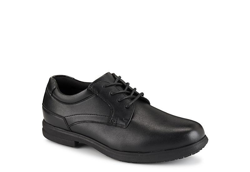 NUNN BUSH Mens Sherman Slip Resistant Plain Toe Oxford - BLACK