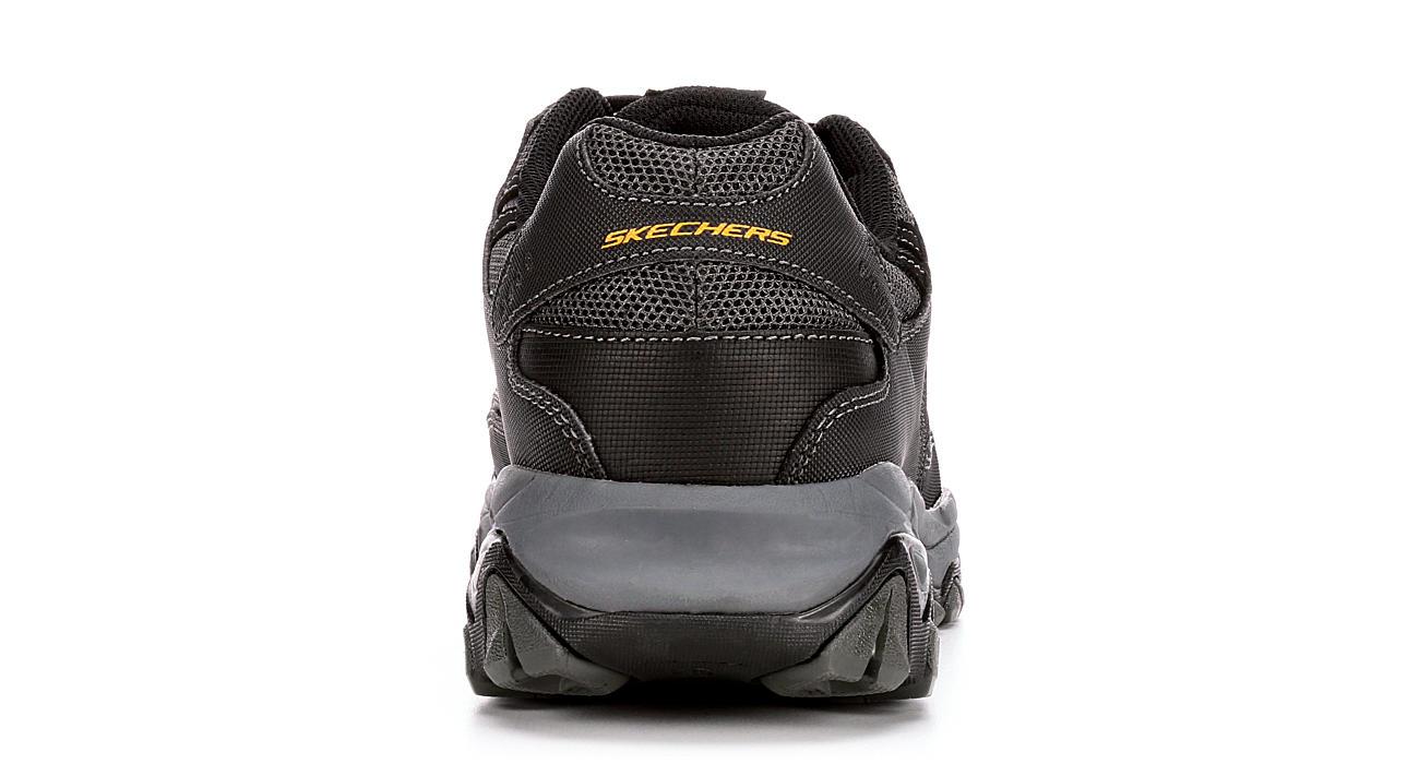 SKECHERS Mens Crankton Steel Toe Slip Resistant Relaxed Fit Work - BLACK