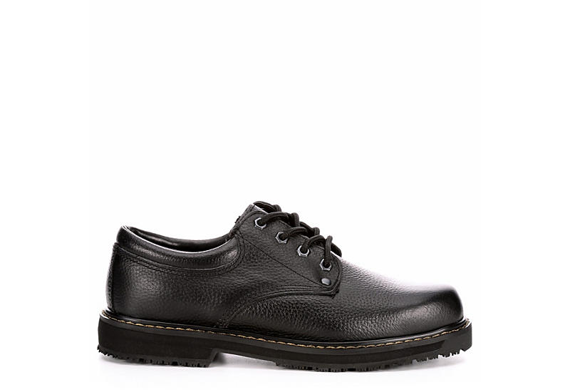 DR. SCHOLL'S Mens Harrington Ii Slip Resistant Work Oxford - BLACK