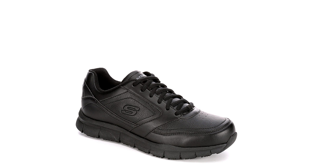 SKECHERS Mens Skechers Nampa Slip Resistant Lace Up Sneaker - BLACK