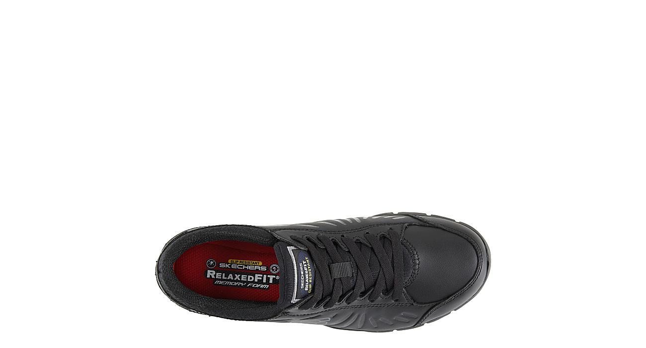 SKECHERS Womens Eldred Slip Resistant Relaxed Fit Work Sneaker - BLACK