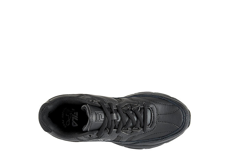 FILA Womens Memory Work Shift Slip Resistant Sneaker - BLACK