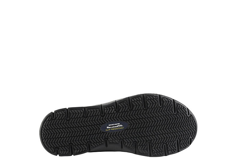 SKECHERS Womens Cozard Slip Resistant Relaxed Fit Work Sneaker - BLACK