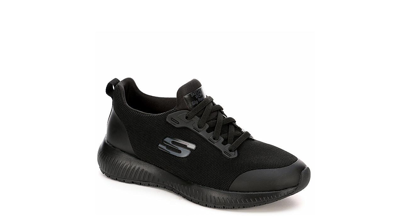 SKECHERS Womens Squad Slip Resistant Work Sneaker - BLACK