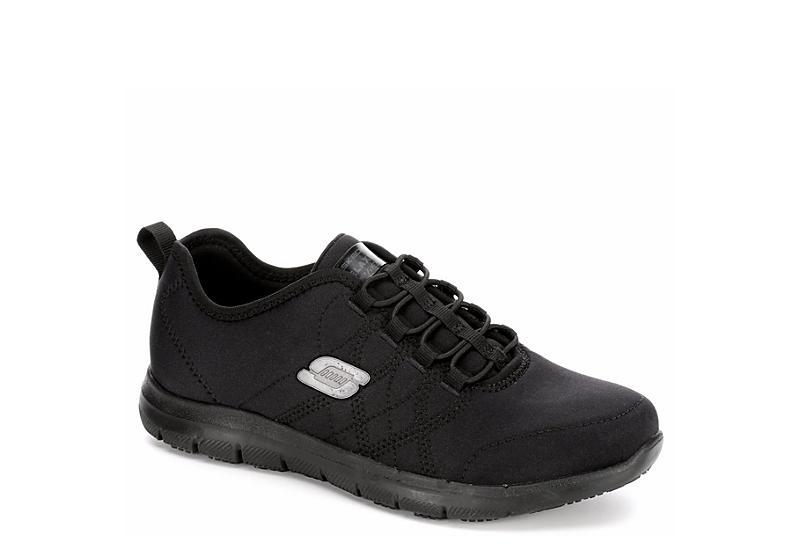 SKECHERS Womens Ghenter-srelt Slip Resistant Sneaker - BLACK