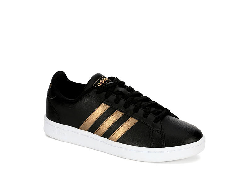 BLACK ADIDAS Womens Grand Court Sneaker