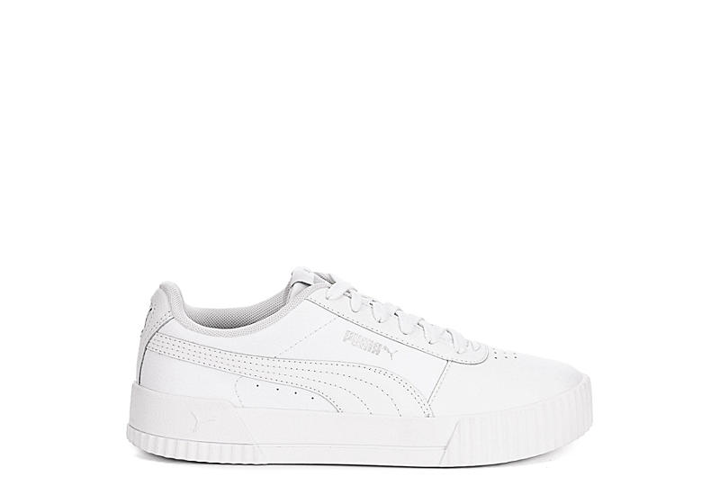 Puma Grey White Carina Suede Sneakers | | Shop the latest