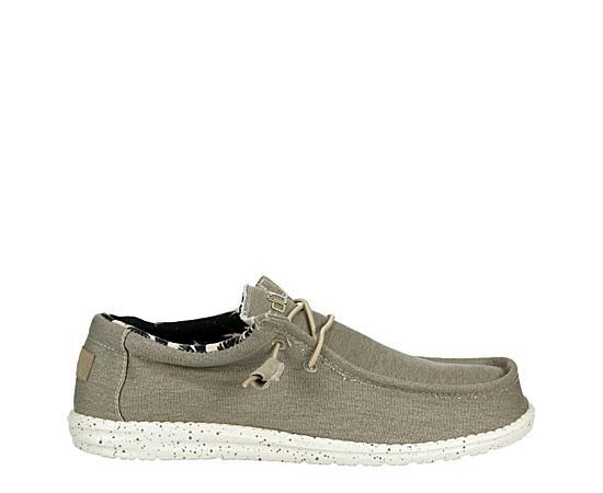 Mens Wally Stretch Beige Fabric Shoe
