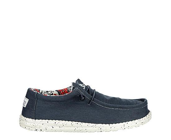 Mens Wally Stretch Blue Fabric Shoe