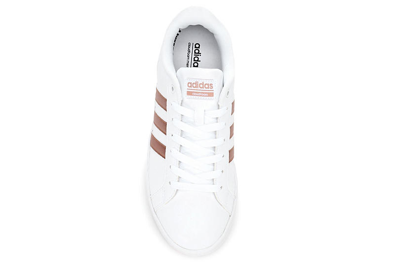 ADIDAS Womens Advantage Stripe Sneaker - WHITE