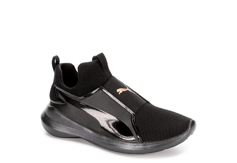9517b98f64c0f7 Glossy Black Puma Rebel Women s Sneakers