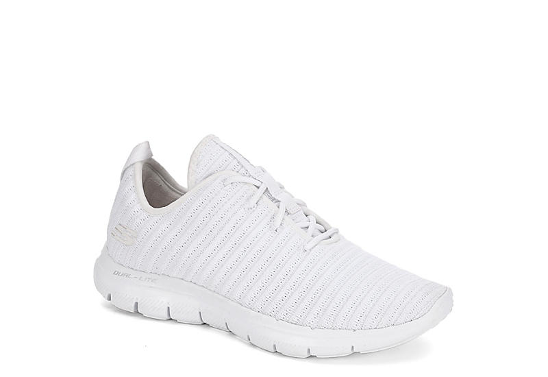 59ff2a87049b Skechers Womens Flex Appeal Ribbed Sneaker - White