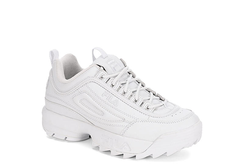 ae16f04de55a All White Women s Fila Disruptor II Premium Sneakers
