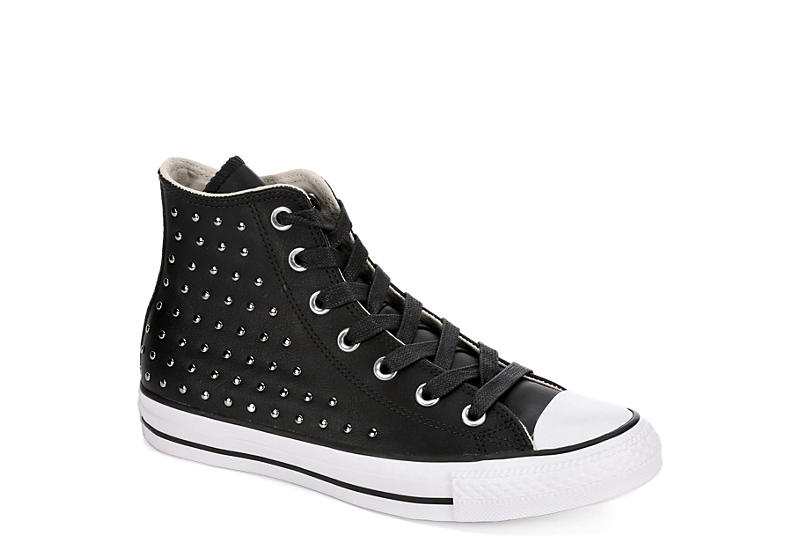f6a8b425906c93 Converse Womens Chuck Taylor All Star High Top Leather Sneaker - Black.   74.99