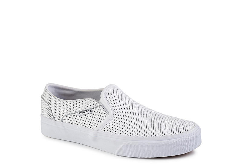 18afdb8808 White Vans Asher Women s Slip-On Sneakers