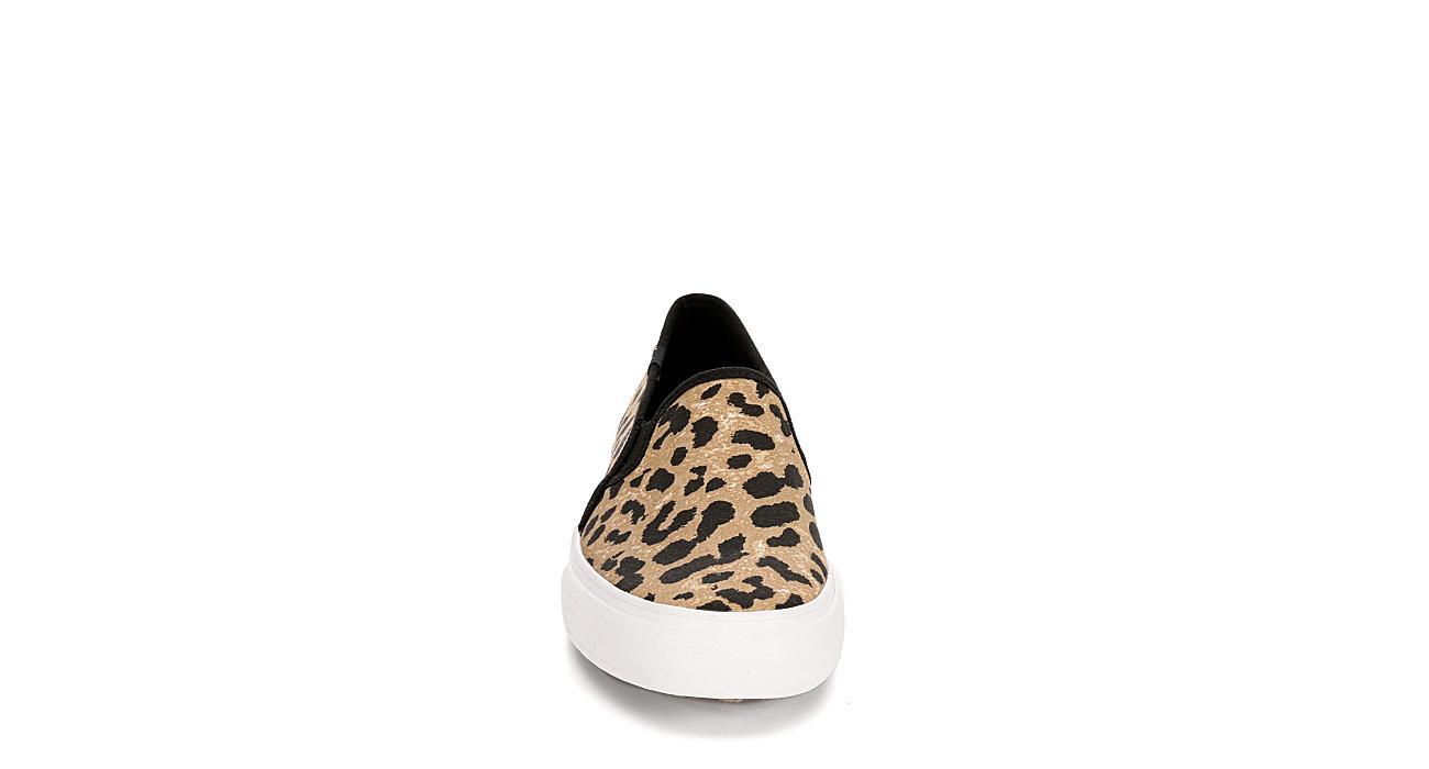 KEDS Womens Double Decker Slip On Sneaker - LEOPARD