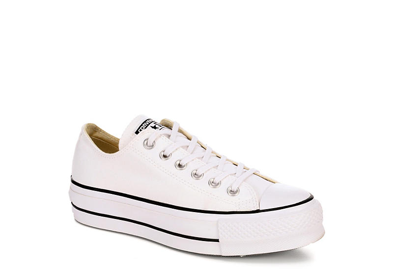 WHITE CONVERSE Womens Chuck Taylor All Star Low Lift Sneaker