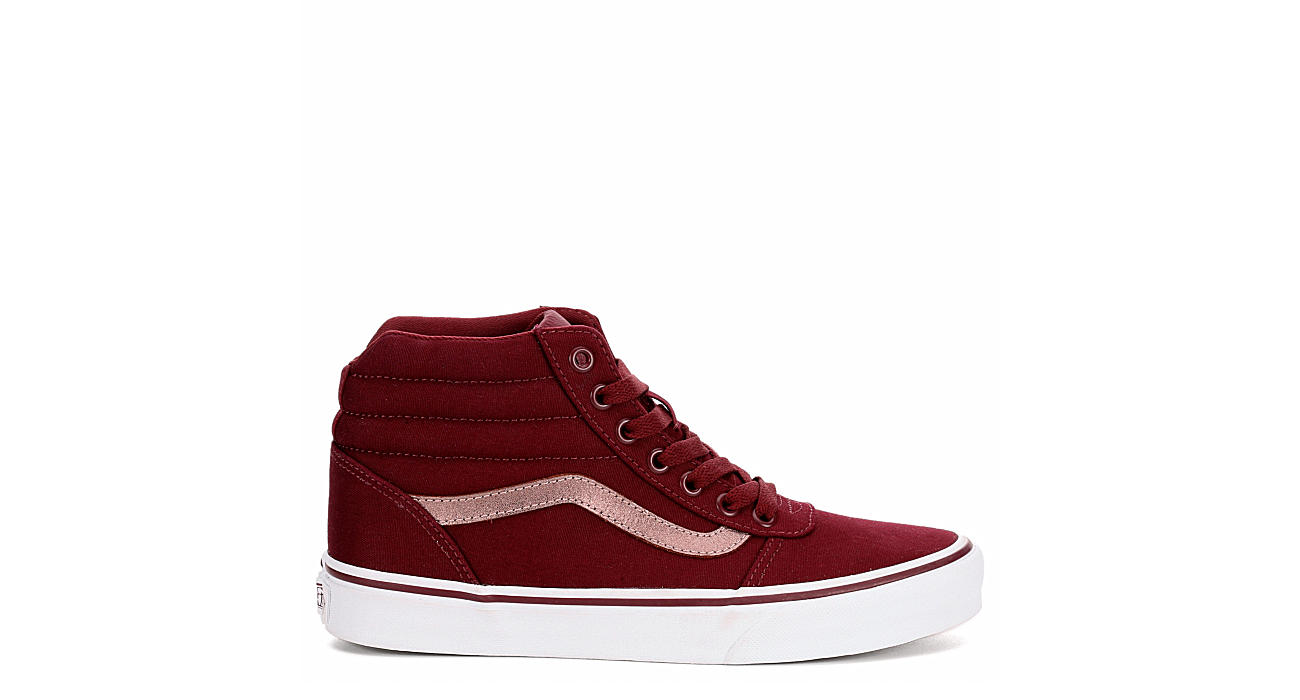 60d7576d86 Burgundy Vans Ward Women s High Top Sneakers