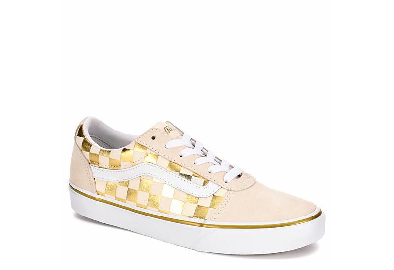 31f5b35b1d8 Gold Checkered Vans Ward Women s Sneakers